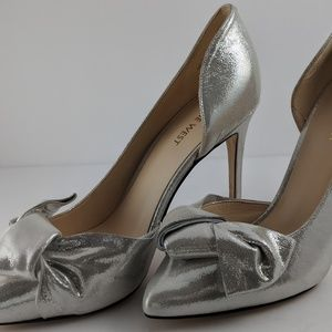 Silver Nine West Edelina Metallic Bow Pumps